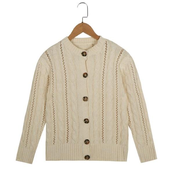 Kvinnor Stickad kort tröja Jacka Button Casual Cardigan Toppar