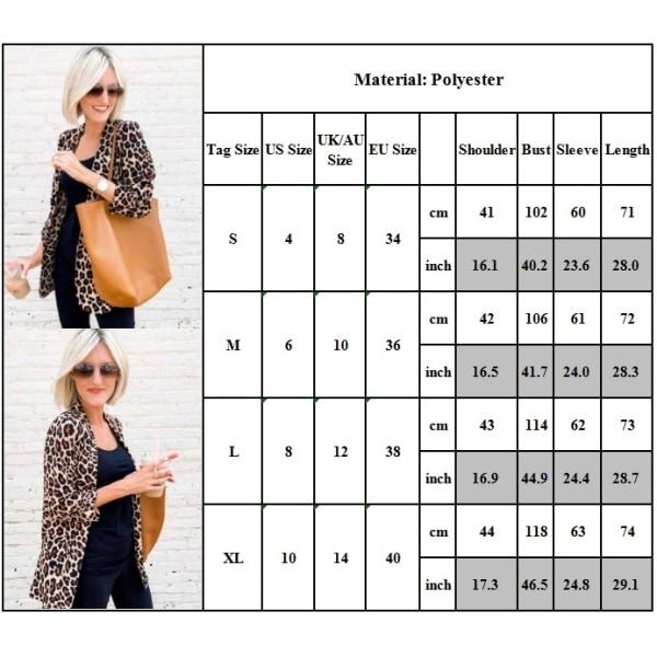 Kvinnor Leopardmönstrad Blazer Ladies Slim Cool Cardigan
