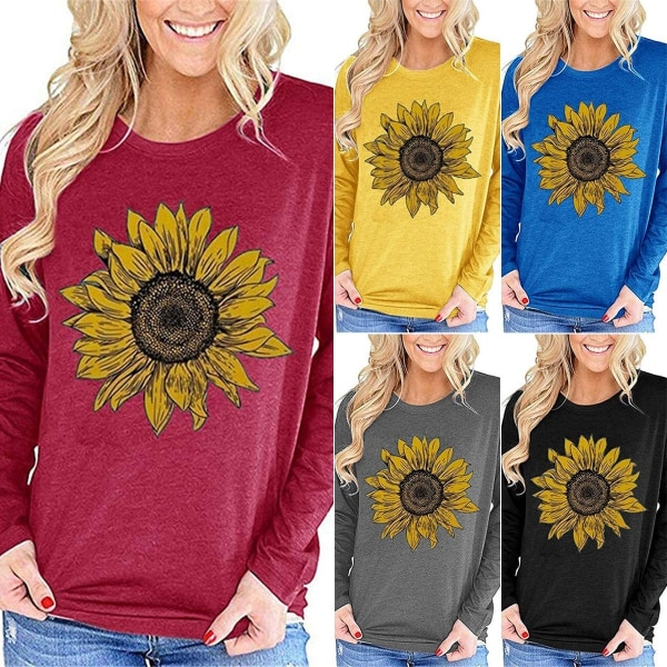 Långärmad solrosstryck Casual T-shirt Top Dam