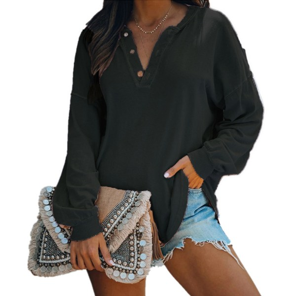 Women Long Sleeve Blouse V Neck Tops Casual Loose Baggy Pollover Black L