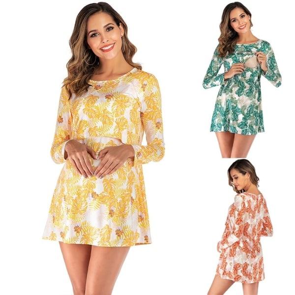 Women Long Sleeve Breastfeeding Suit Ladies Print orange XL