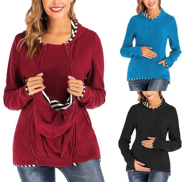 Women Long Sleeve Hooded Breastfeeding Tops Ladies Winter blue S