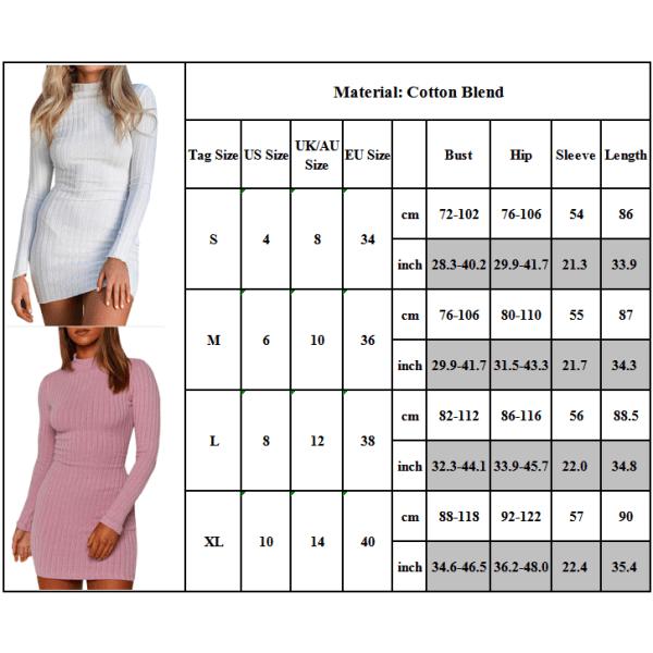 Kvinnor långärmad stickad klänning Bodycon Casual Slim Pullover Khaki M