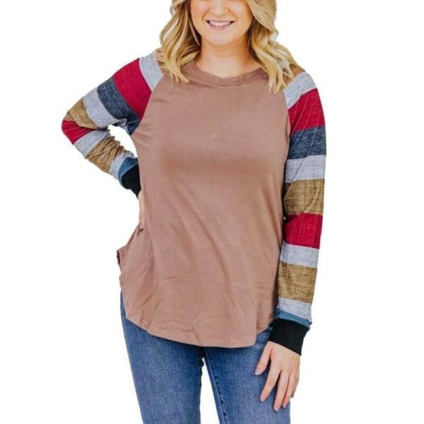 Women Long Sleeve Striped T-Shirt Casual Autumn Blouse Crew Neck Khaki L