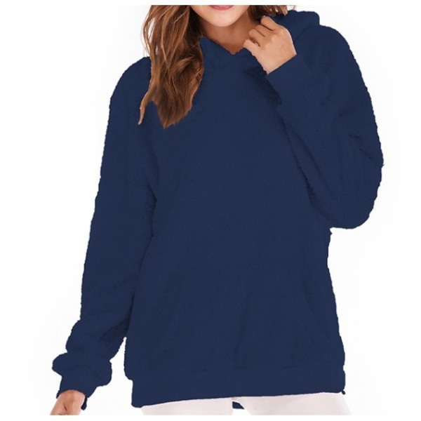 Women Long Sleeve Teddy Fleece Hoodie Sweatshirt Drawstring Deep Blue M