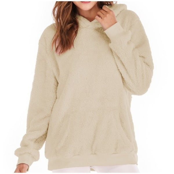 Women Long Sleeve Teddy Fleece Hoodie Sweatshirt Drawstring Khaki XL