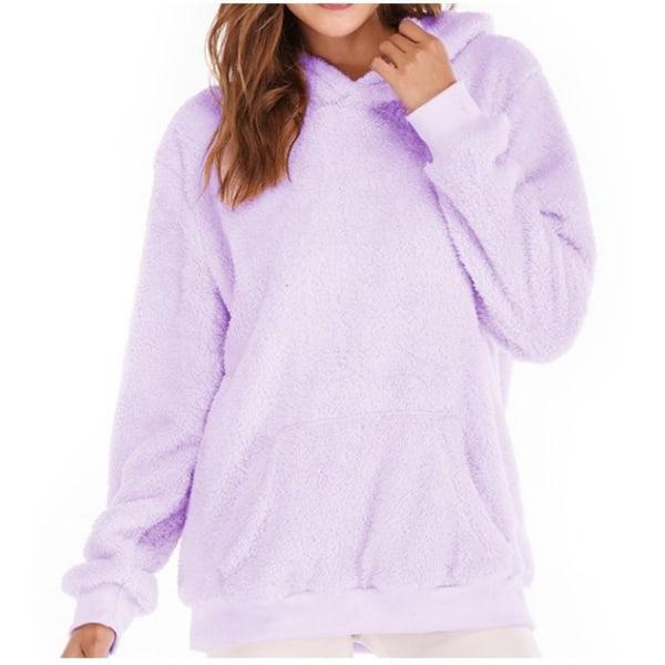 Women Long Sleeve Teddy Fleece Hoodie Sweatshirt Drawstring Purple S