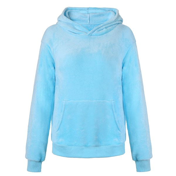 Women Long Sleeve Teddy Fleece Hoodie Sweatshirt Drawstring Sky Blue XL