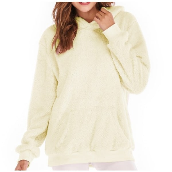 Women Long Sleeve Teddy Fleece Hoodie Sweatshirt Drawstring Yellow XL