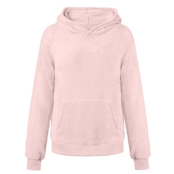 Women Long Sleeve Teddy Fleece Hoodie Sweatshirt Drawstring Khaki L