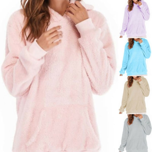 Women Long Sleeve Teddy Fleece Hoodie Sweatshirt Drawstring Purple XL