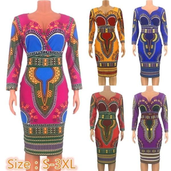 Långärmad tunika för kvinnor med tryck i nationell stil