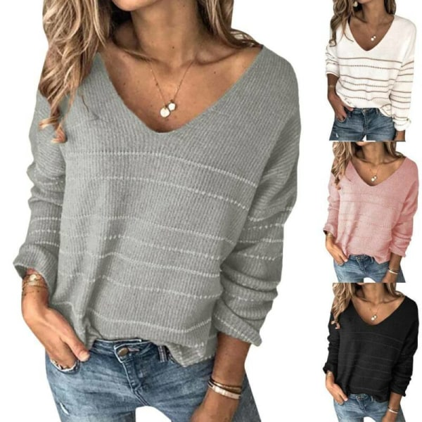 Women Long Sleeve V Neck Knit Baggy Sweater Casual Jumper Gray M