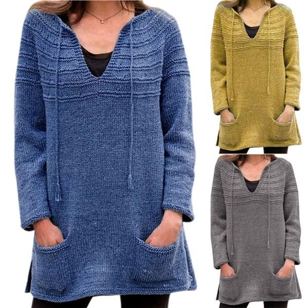 Kvinnors långa tröja Sexig V-hals Solid färg