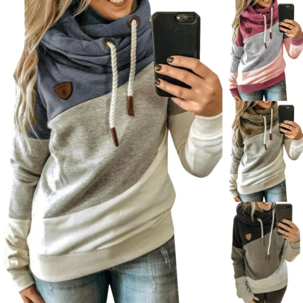 Women Loose Long Sleeve Hooded Casual Patchwork Pullover T-Shirt Black 2XL