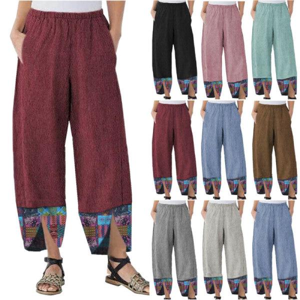 Women Loose Print Casual Legging Sports Trousers Yoga Pants Pink L