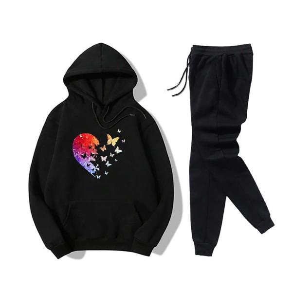 Kvinnor älskar fjärilsmönster utskrift Casual sweatshirt kostym