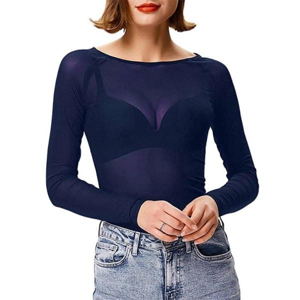 Kvinnor Mesh Bottom Långärmad skjorta tunn
