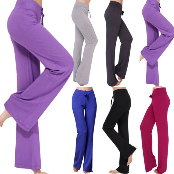 Women Plain Sports Yoga High Waisted Flared Pants Casual Palazzo Deep Grey S