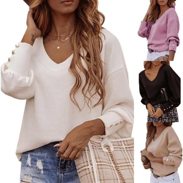 Women Plain V-Neck T-Shirt Casual Button Long Sleeve Top Autumn Khaki M
