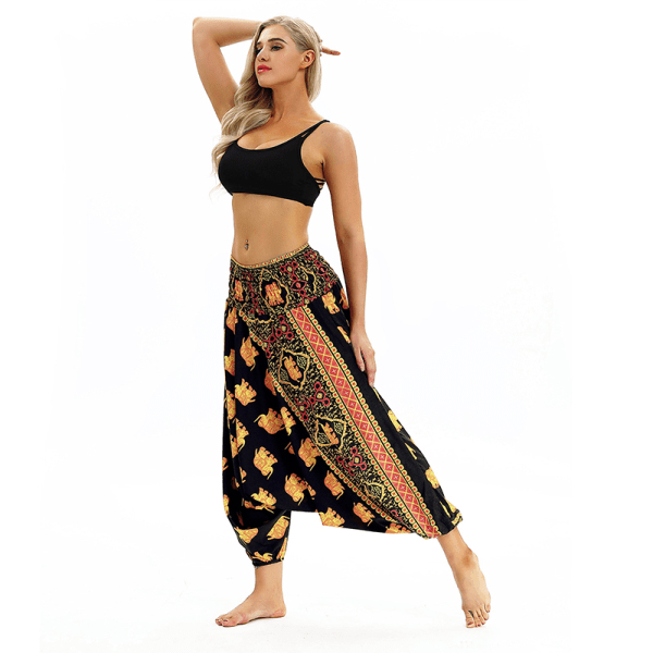 Women Printed Loose Fit Crotch Plus Size Fitness Yoga Pants yellow