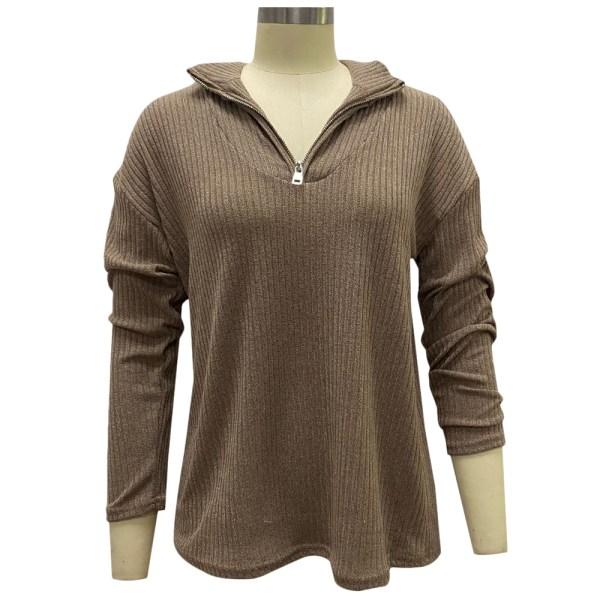 Women's casual long sleeve 1/4 zipper sweatshirt sweater khaki 3XL