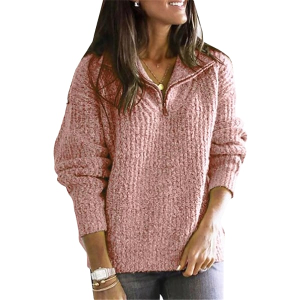 Women's casual long sleeve 1/4 zipper sweatshirt sweater pink L