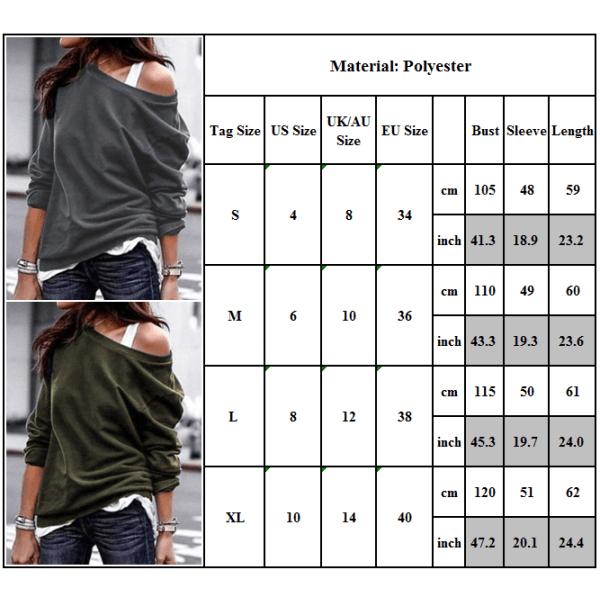 Women's diagonal collar casual long-sleeved trendy top T-shirt black L