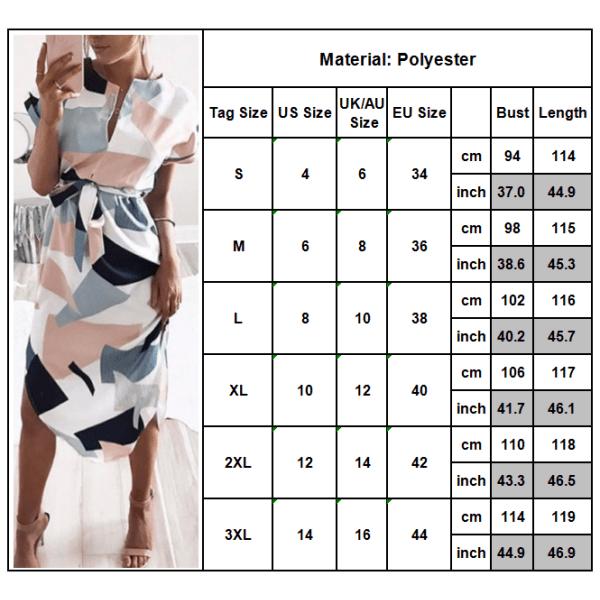 Women's dress summer casual print geometric pattern belt dress white 3XL