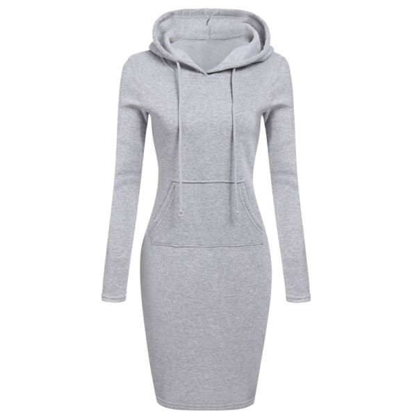 Women's hooded pocket dress, fashionable sweater dress gray M