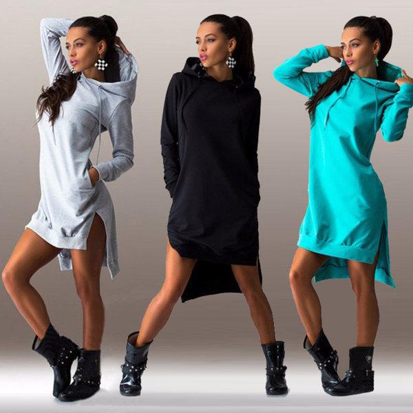 Women's Long Sleeve Hooded Pocket Sweatshirt Dress Sweatshirt black M