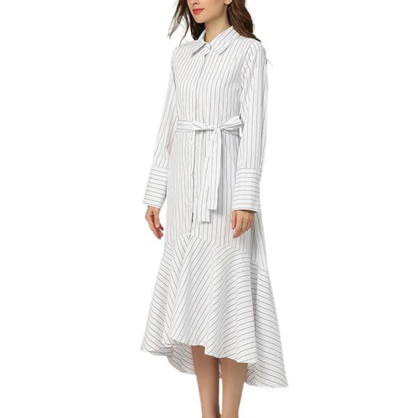 Långärmad randig smal klänning för kvinnor med lotusblads kjol