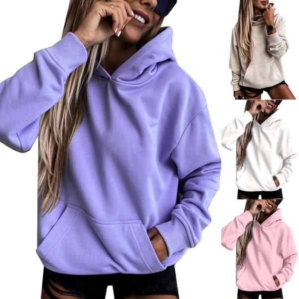Women's pocket hooded sweater casual hoodie long sleeves purple M