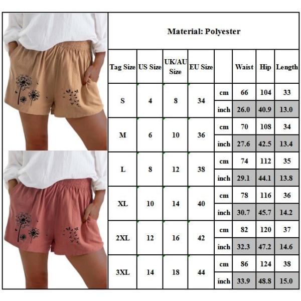 Kvinnors tryckta shorts i bomullsficka