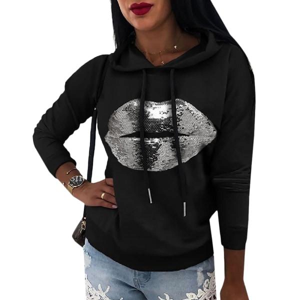 Women's Printed Hoodie Long Sleeve Street Style Hoodie black XL