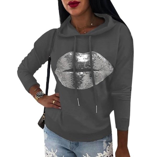 Women's Printed Hoodie Long Sleeve Street Style Hoodie gray L