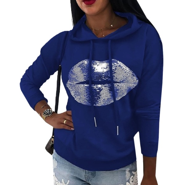 Women's Printed Hoodie Long Sleeve Street Style Hoodie navy blue 2XL