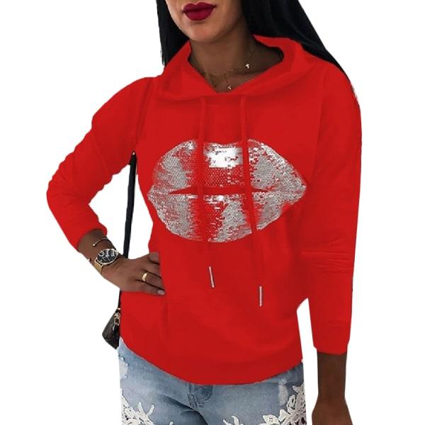 Women's Printed Hoodie Long Sleeve Street Style Hoodie red XL