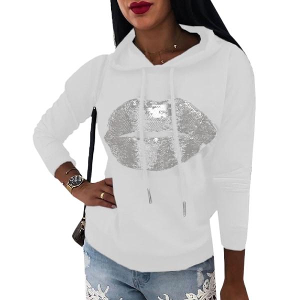 Women's Printed Hoodie Long Sleeve Street Style Hoodie white S