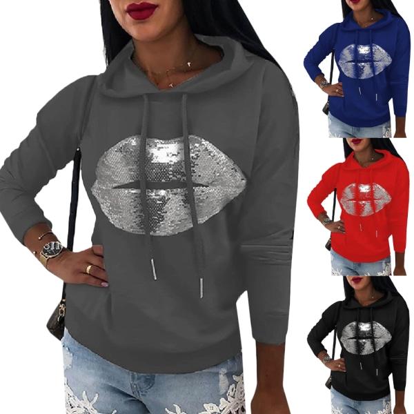 Women's Printed Hoodie Long Sleeve Street Style Hoodie black M