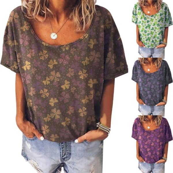 Kvinnors retro-tryck rund hals plus storlek kortärmad T-shirt black 3XL