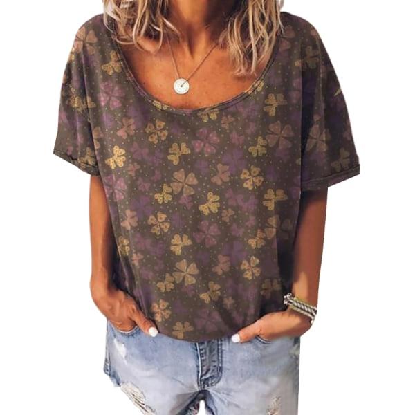 Kvinnors retro-tryck rund hals plus storlek kortärmad T-shirt brown M