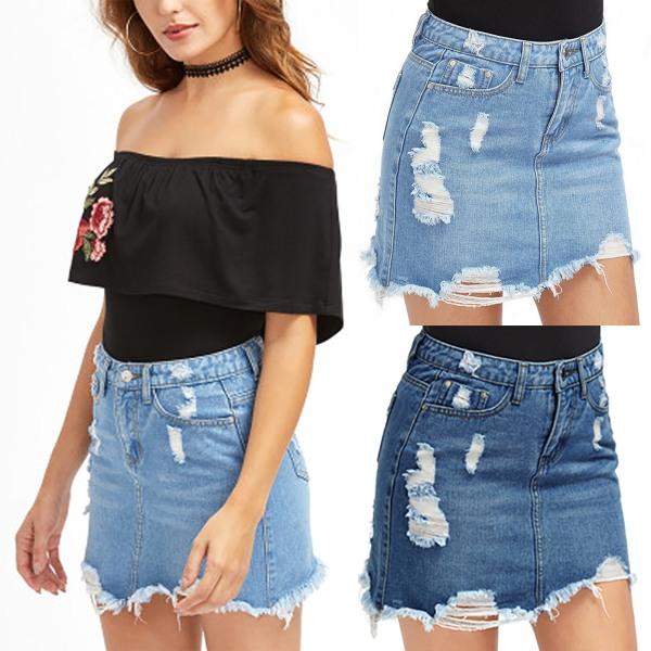 Women's Ripped Denim Short Skirt Pull-on Frayed Hem Denim Skirt light blue M