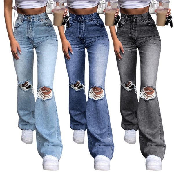 Women's sexy fashion flared knees ripped denim, skinny jeans blue M