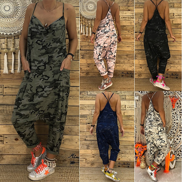 Women's Sleeveless Casual Long Jumpsuit Fashion Jumpsuit black XL