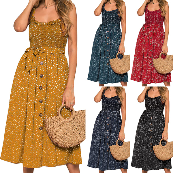 Women's Summer Sexy Ruffle Dress Beach Casual Ruffle Dress navy blue M
