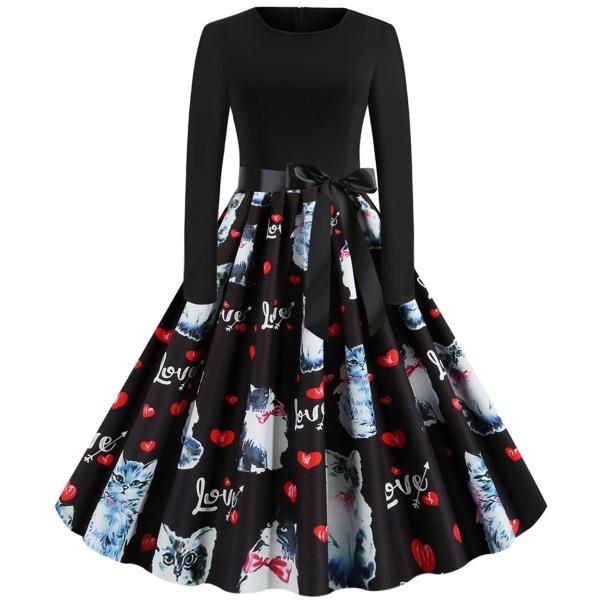 Kvinnors alla hjärtans dag hjärtat katt tryckta klänningar