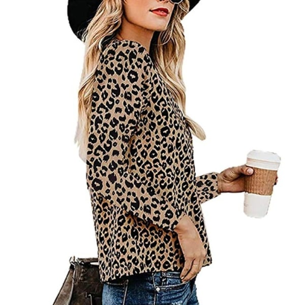 Kvinnors sexiga kalla axel leopardskjorta mode baggy t-shirt
