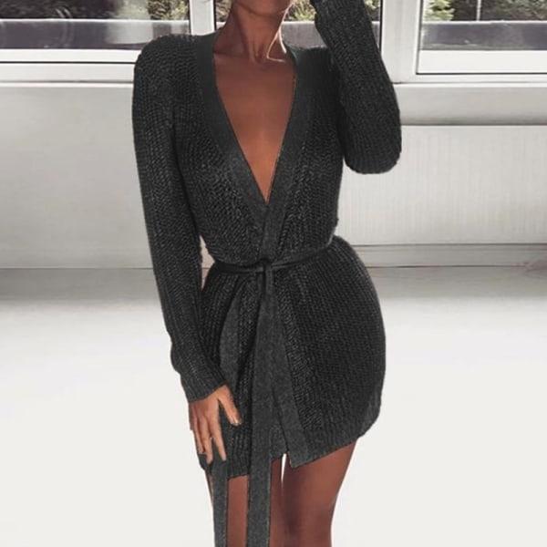 Kvinnors sexiga djupa v-tröja i enfärgad färg