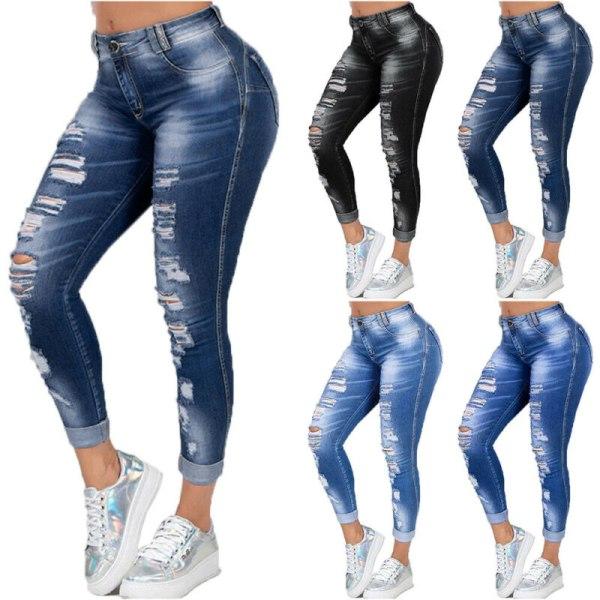 Women Skinny Ripped Jeans Casual Slim Fit Denims Pants Trousers Dark Blue 5XL